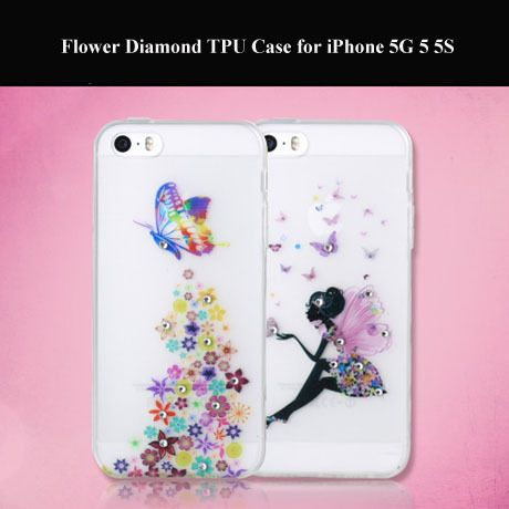 2pcs/lot Free Shipping New Flower Diamond Silicone TPU Gel Cover Skin Case for iPhone 5G 5 5S with Dust Plug Lips Butterfly  $5.99