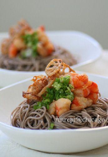 素揚げれんこんと海老のぶっかけとろろ蕎麦 Tororo Soba with Shrimp and Fried Lotus Root