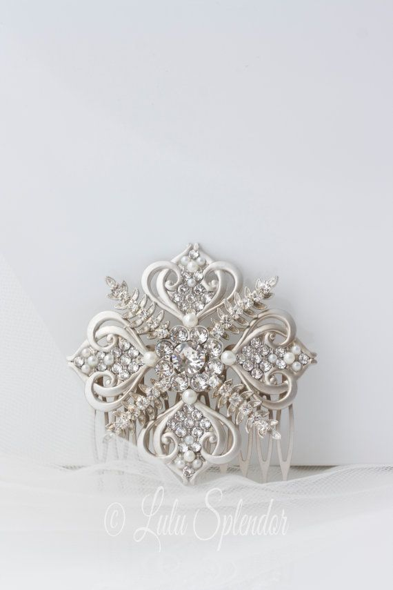Bridal Rhinestone Hair Comb Snowflake Wedding Comb by LuluSplendor for the winter bride, an exceptionally beautiful hair comb