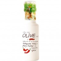 Organic flavoured olive oil with organic packaging