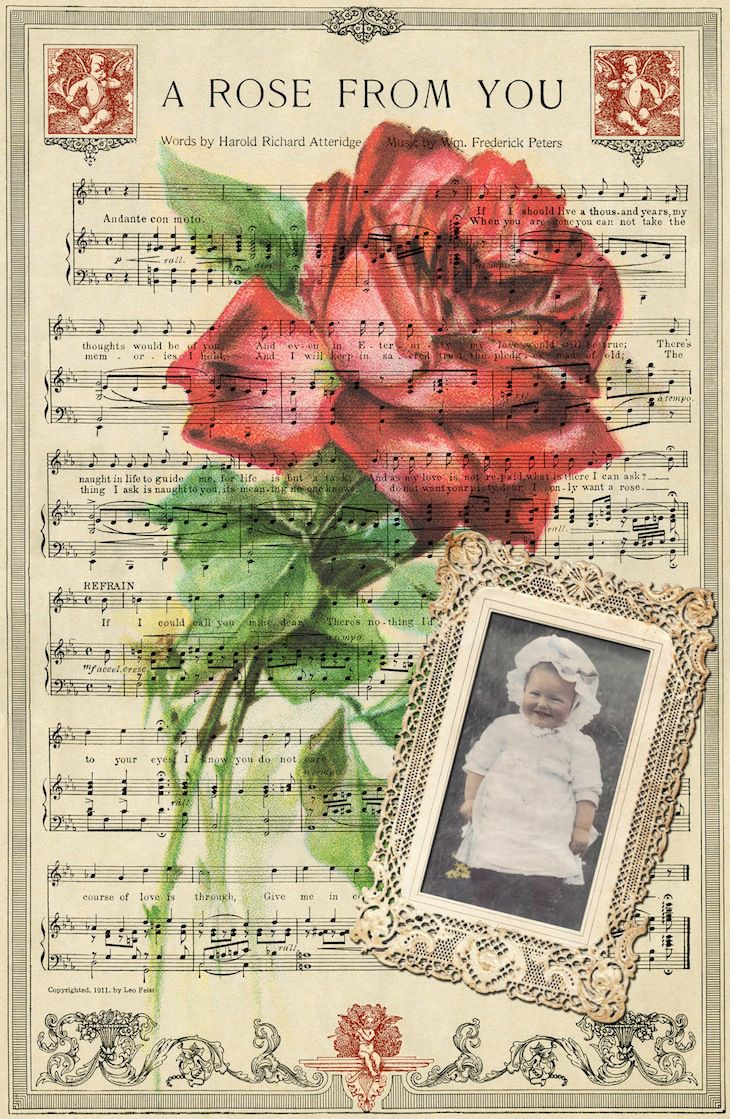 """A Rose From You"" Vintage Digital Collage Background - **Replace your own photo image for your scrapbook page! ~ Wings of Whimsy"