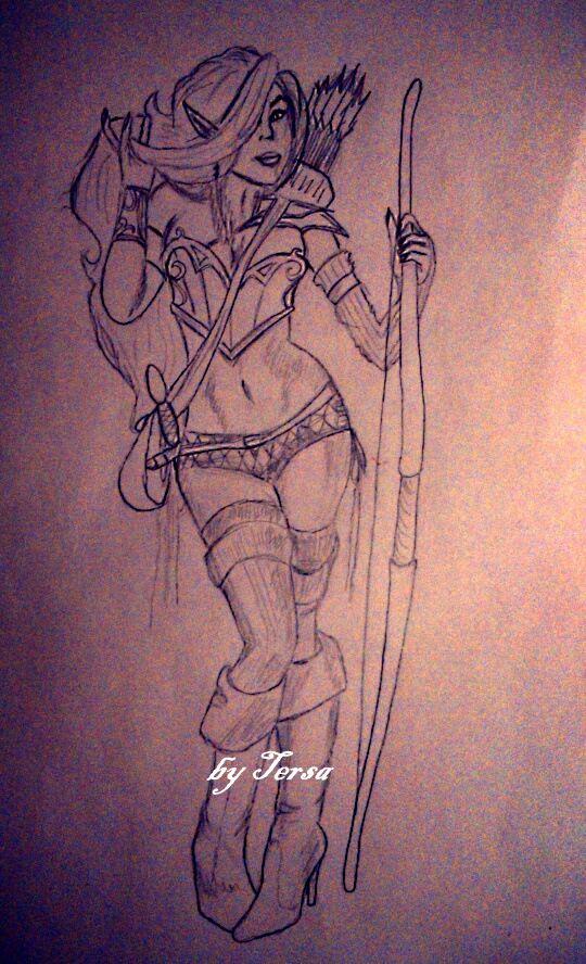 hunter, sketch, world of warcraft, arrow