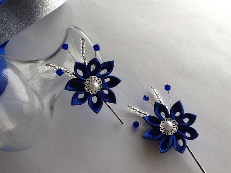 ... Falwar art   Pinterest   Kanzashi Flowers, Cobalt Blue and Bobby Pins