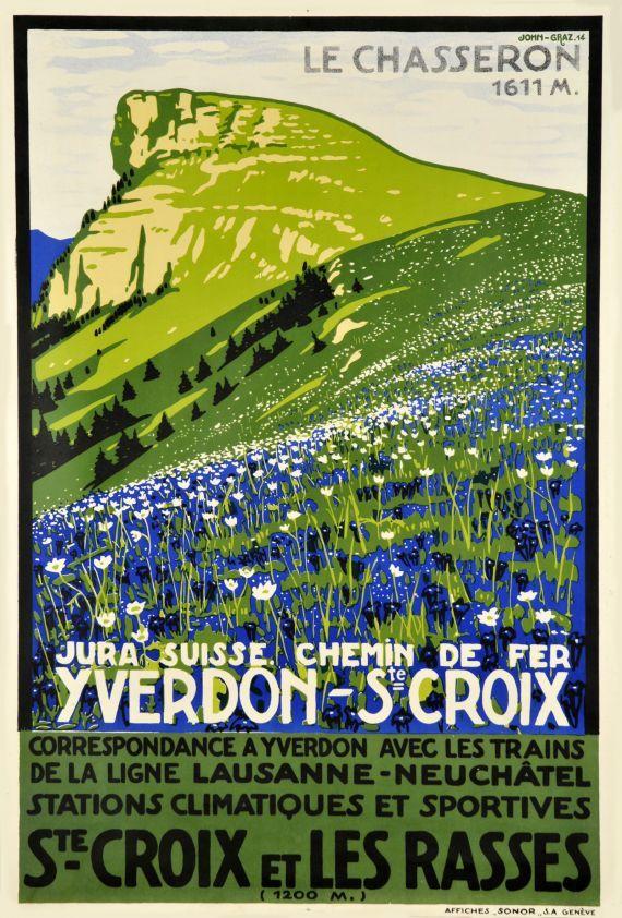 illustration : affiche de tourisme, Yverdon - St. Croix, Chemin de Fer, Les Rasses. 1941, Jura Suisse