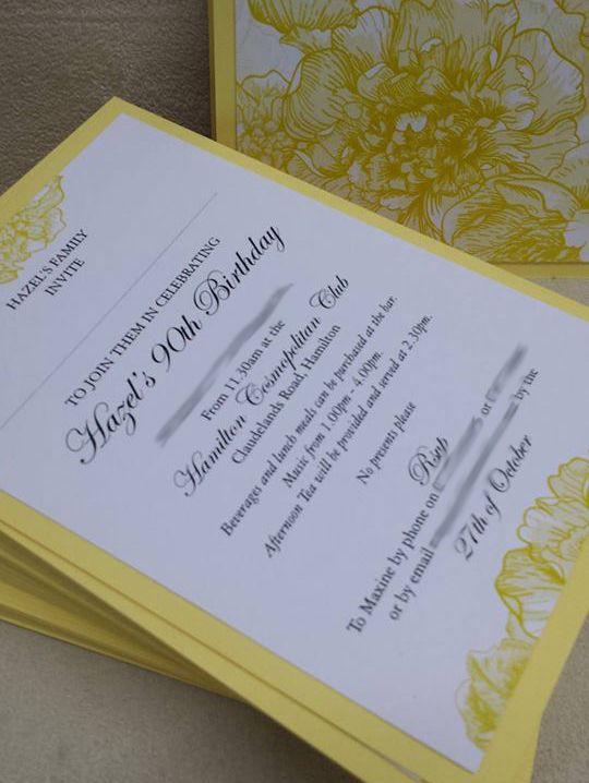 90th Birthday Invitations - Yellow Peonies