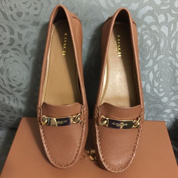 Coach Olive Womens Size 7 Brown Leather Loafers Authentic Brand New Coach Shoes Coach Shoes