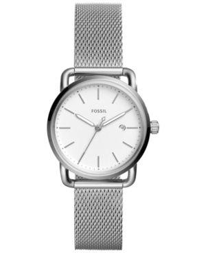 Fossil Women's Commuter Stainless Steel Mesh Bracelet Watch 34mm - Silver