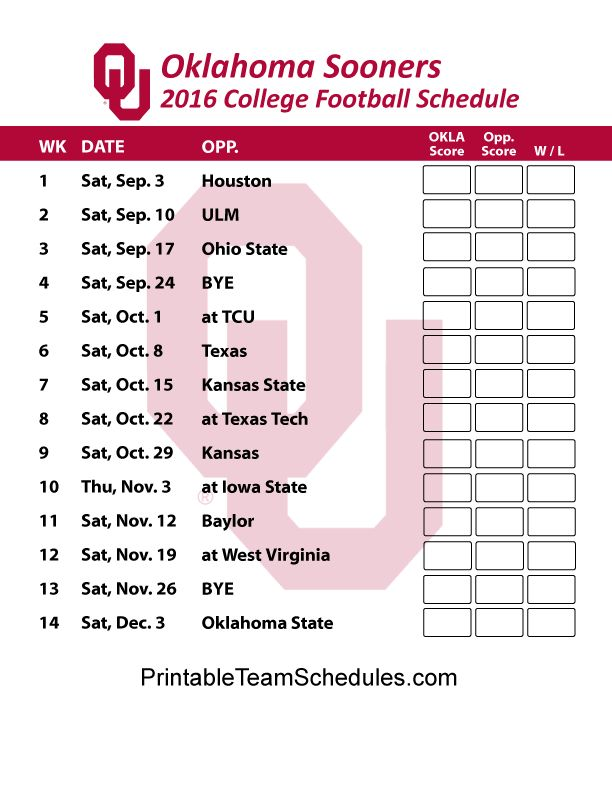 Oklahoma Sooners  Football Schedule 2016. Printable Schedule Here - http://printableteamschedules.com/collegefootball/oklahomasooners.php