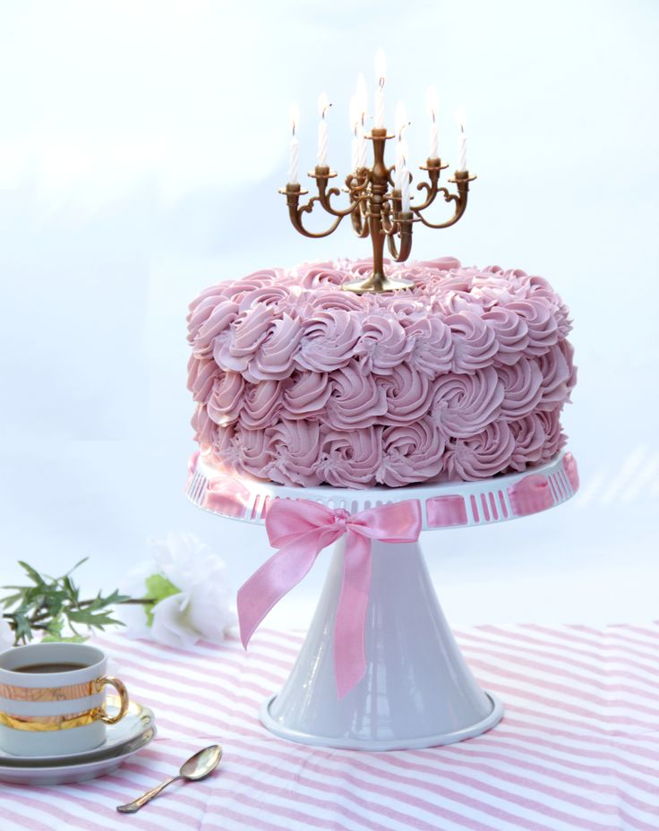 Girly rosette cake with gold chandelier