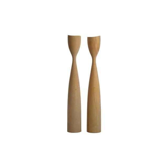 Image of Natural Wood Danish Modern Candleholders - A Pair