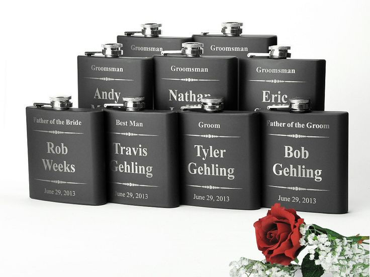 9 Personalized Bridal Party Gifts Stainless Steel Engraved Wedding Flasks Gifts for Groomsmen Gifts for Bridesmaids 9 Flasks (135.00 USD) by JourneyProductions