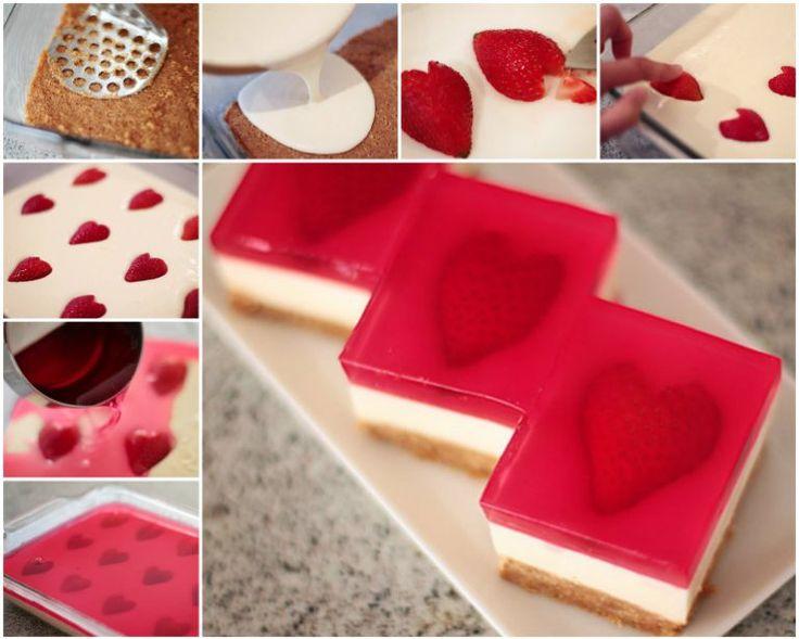 No Bake Strawberry Jelly Heart Dessert Recipe   DIY Tag