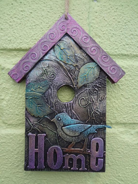 Birdhouse hanger original mixed media by LindsayMasondesigns