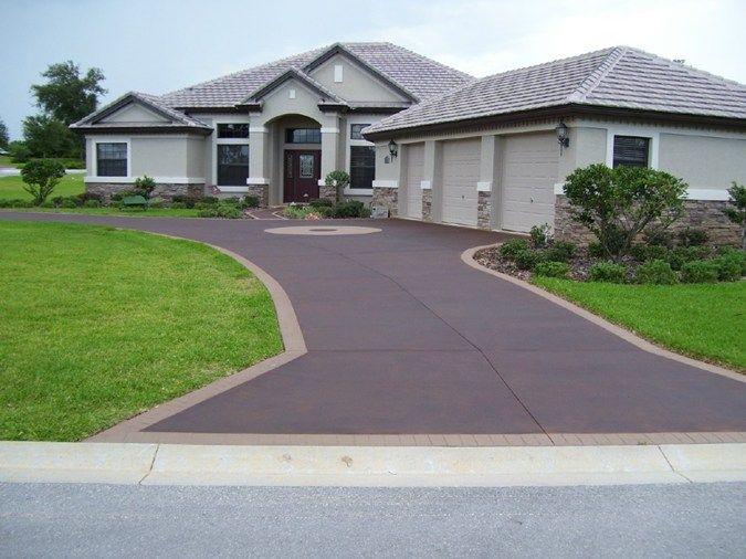Stained concrete driveways deco surf llc hernando fl for Can i paint asphalt driveway