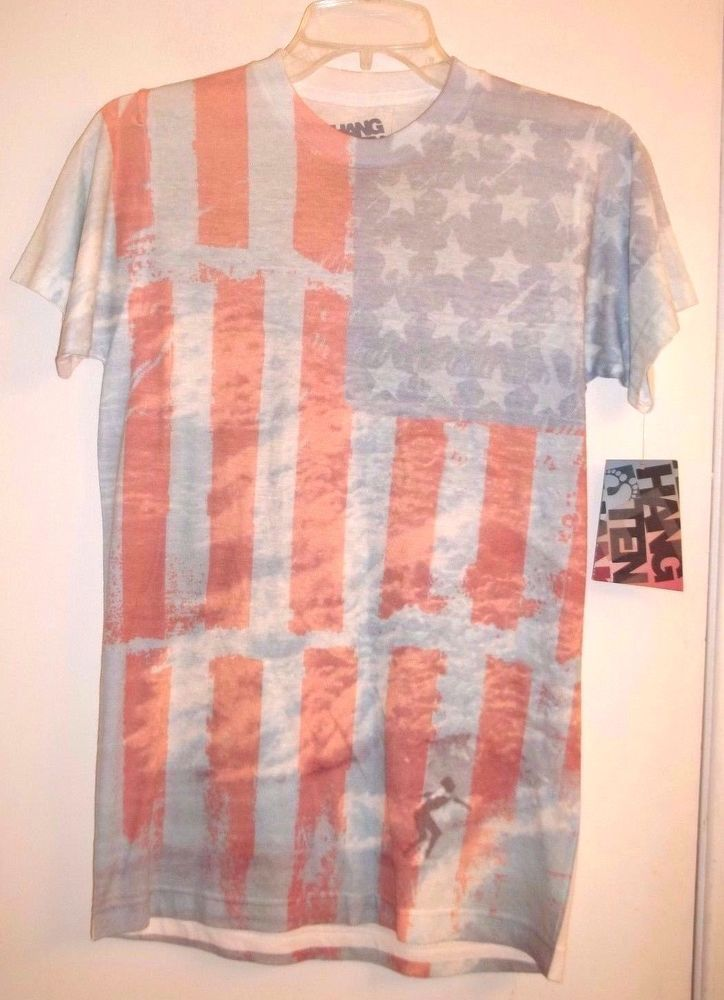 Hang Ten Surf Shop Size Small  American Flag Shirt with Surfer Cotton Blend #HangTen #GraphicTee