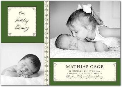 Winter Boy Birth Announcements Sibling Introduction: Boy - Front : Evergreen