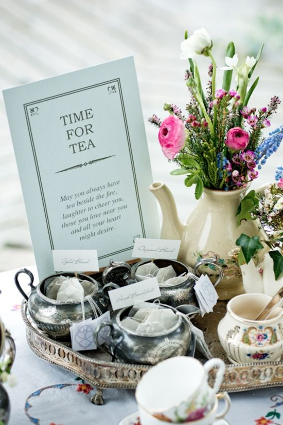 "Tea-time wishes: ""May you always have tea beside the fire, laughter to cheer you, those you love near you and all your heart might desire."""