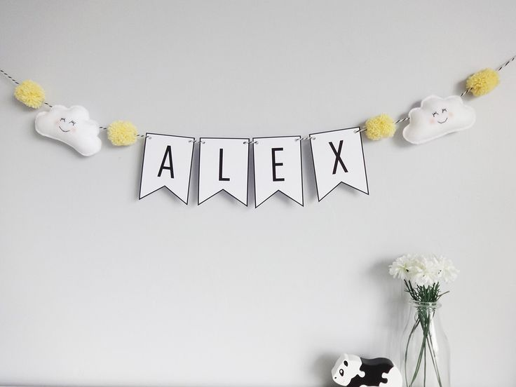 Personalised cloud name bunting, baby nursery decor, baby room decoration, personalised name bunting with felt clouds and pom poms by PaperAndWool1 on Etsy https://www.etsy.com/listing/234641858/personalised-cloud-name-bunting-baby