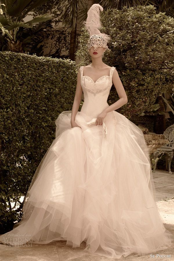st pucchi wedding dresses 2014 2015 belle drop waist ball gown with straps