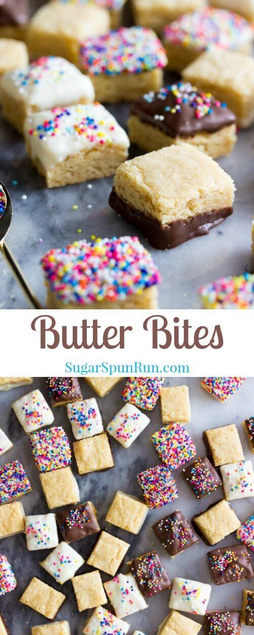 Soft, buttery, sprinkle-covered butter bites!  || Sugar Spun Run via @sugarspunrun