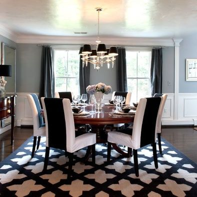 Dinning room decor navy blue white and brown dinning for Navy dining room ideas