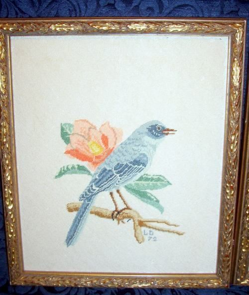 Framed Petite Point Blue Bird Signed Dated 72 Needle Arts Crafts Needlepoint