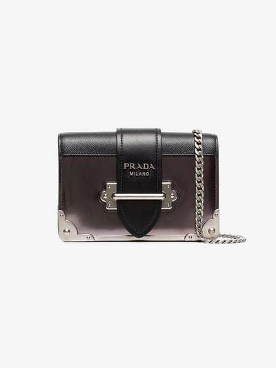 075b0329b3e6 PRADA | Grey, Black and Pink Cahier Mini Leather Shoulder Bag | $2,450.00 |  This grey, black and pink Prada Cahier mini leather shoulder bag boasts  Italian ...