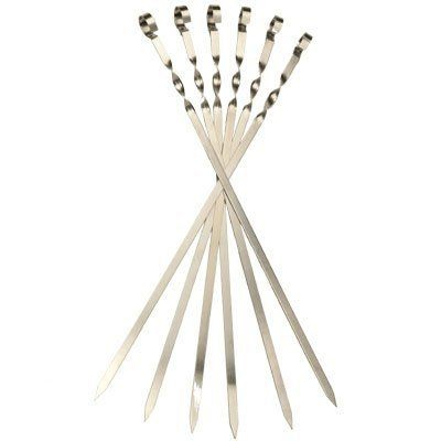 """6 Long Flat Stainless Steel Skewers.(L 22,8"""" /W 0,45"""" /T 0,05"""") . $27.00. Stainless Steel. Not dishwasher safe. Peel off label by hand. Place skewer on hot grill for 5 min. Wipe off what's left.. Measures 22,8 inches long (60 Sm). These skewers are for 1"""" to 1.5"""" size cubes of meat.. For those who like shish-kabobs, our flat metal skewers offer you strong and durable options when it is time for grilling. The sharp ends and sturdy design make it easy to put on them a wide range ..."""