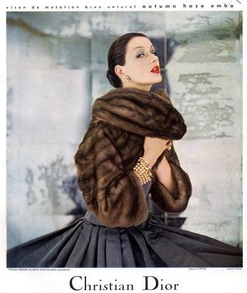 Emba mink jacket by Dior, jewelry by Cartier, photo by Virginia Thoren 1955