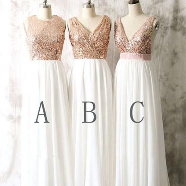 2003d3cadf2b Modest Blush Pink Beach Wedding Bridesmaid Dresses With Rose Gold Bridesmaid  Tops: Mismatched Different Styles Sequin Top White Chiffon