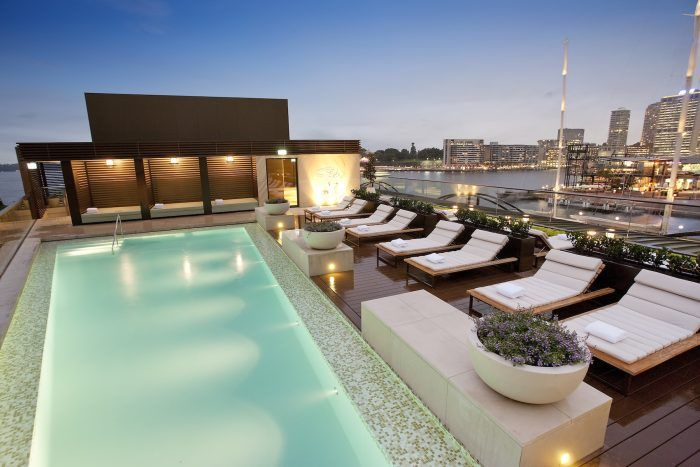 Park Hyatt Sydney-With sweeping views of Circular Quay, Park Hyatt's rooftop pool is the ultimate escape from the city bustle. The heated outdoor pool overlooks the iconic Opera House and the Harbour Bridge, with a private sundeck, cabanas and a spa for guests.