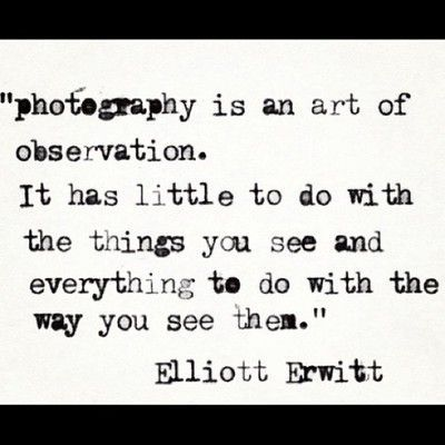 'photography is an art of observation. It has little to do with the things you see and everything to do with the way you see them' ~ Elliott Erwitt   .....Lovely ♥ Josie
