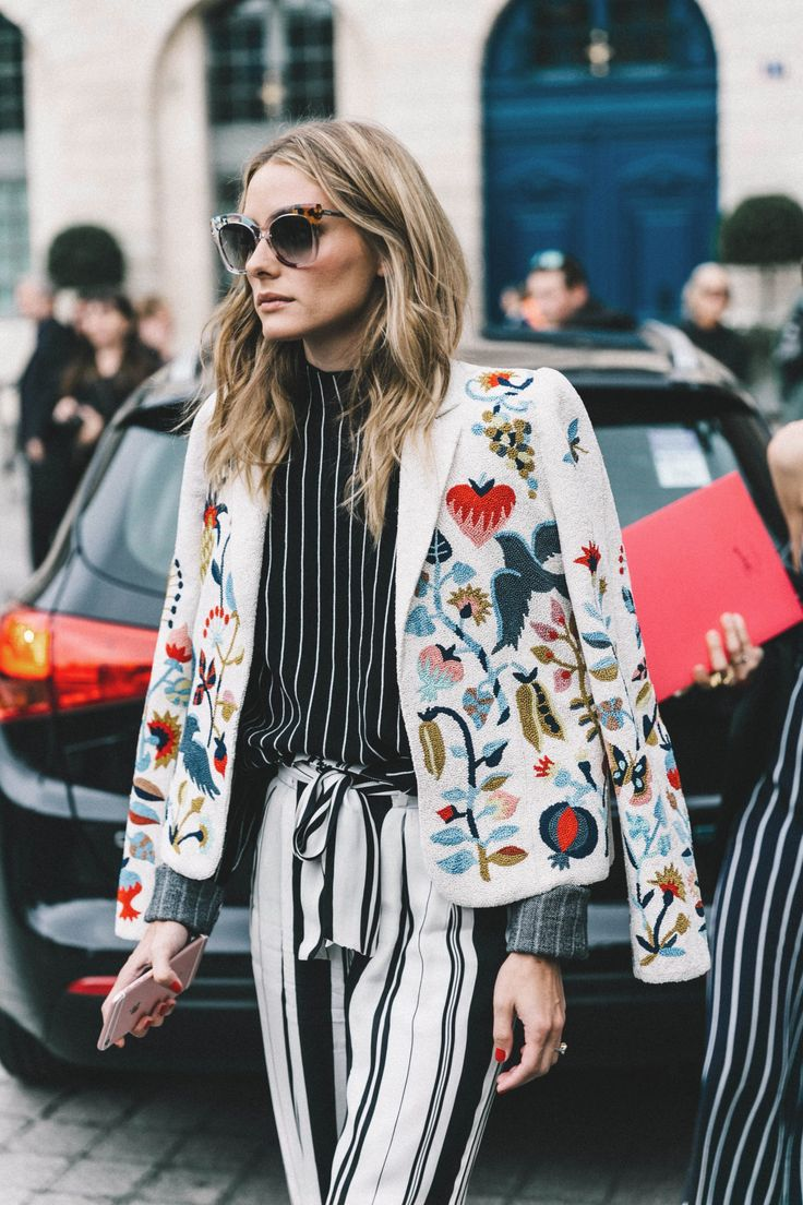 colorfulColors lightColors darkColors patternColors blazerOuterwear jacketOuterwear fallSeason briskWeather white colorful embroidered birds floral stripes black white