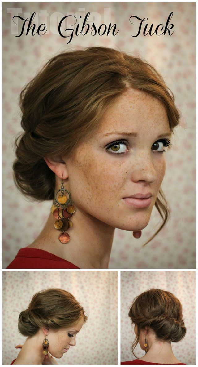 The Gibson Tuck – DIY Step By Step Hair Tutorial A quick and easy holiday undo. Would have to make it looser for curls.The Gibson Tuck – DIY Step By Step Hair Tutorial - I like the earrings too