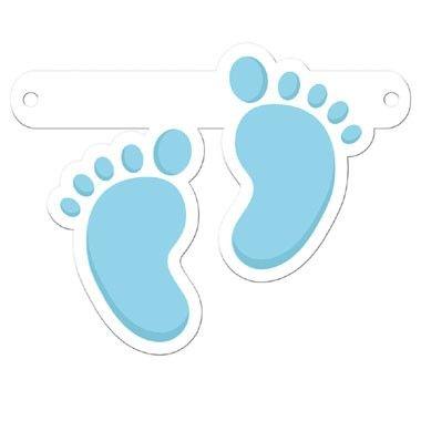 Banner letter voetjes - blauw  Maak je eigen slinger voor verjaardag geboorte huwelijk of ander feest.  EUR 0.95  Meer informatie