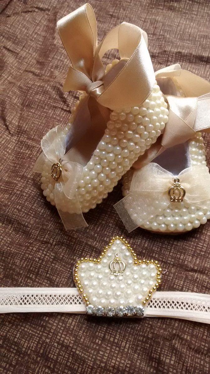 Sapatinho de pérola com faixa coroa | Leid artigos infantis | Elo7