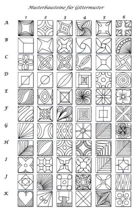 Pattern sheet for zentangle | :: Zentangle  Zendoodle Patterns :: by Keunsup Shin