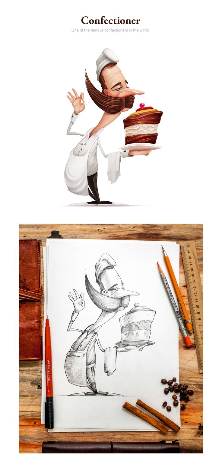 Series of hand drawn characters and concepts
