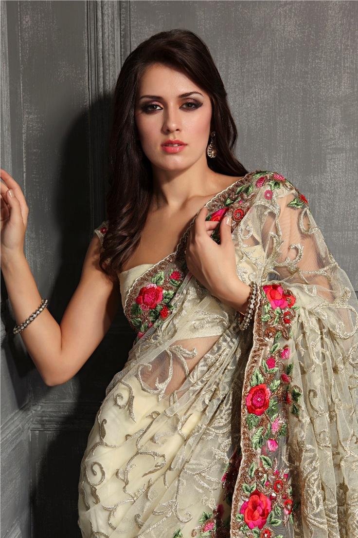 PartyWear Net Saree with beautiful Lurex Jaal/Net all over and heavy rose border, by Meena Bazaar http://www.meenabazaar.in/mbuser/ $699