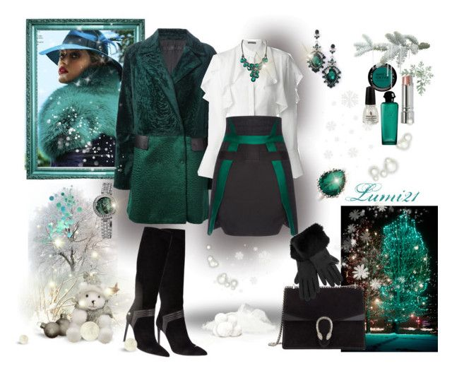 stylish winter by lumi-21 on Polyvore featuring Alexander McQueen, Drome, Antonio Berardi, Yves Saint Laurent, Gucci, bürgi, Anzie, DEMI, MAKE UP FOR EVER and Bobbi Brown Cosmetics