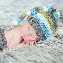 Gratis Verzending Cool Jongen Handgemaakte Gehaakte Streep Kous Caps Foto Props voor Kerstcadeau Baby Hoed(China (Mainland))