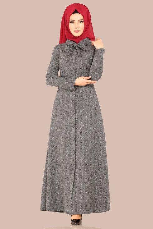 dff8eafab95d1 Modaselvim ELBİSE Fular Detay Elbise Ferace UKB4032 Füme | Elbise ...