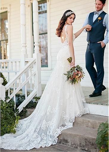 Fantastic Tulle Spaghetti Straps Neckline Mermaid Wedding Dresses With Lace Appliques