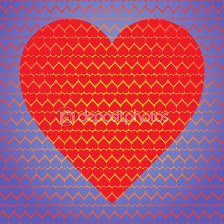 Большие красные сердца, из маленьких сердечек на синем фоне маленьких сердечек — Векторное изображение © iurii_au #63933143