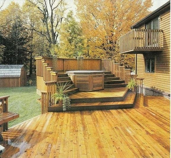 14 best images about ideas for the house on pinterest for Hot tub deck designs plans