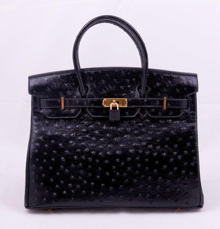 Кожаная сумка Hermes Birkin из натуральной кожи с выделкой под страуса, черная