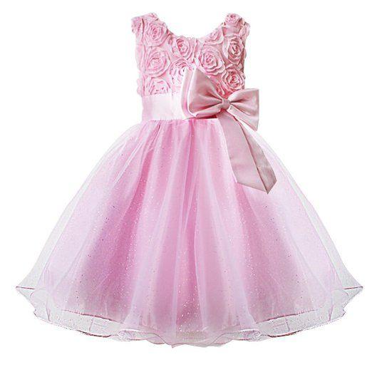 Ragazza Abito Estivo - LATH.PIN Elegante Abito da Sposa Principessa con Fiore per Bambina Carnevale Costume EURO 14,99