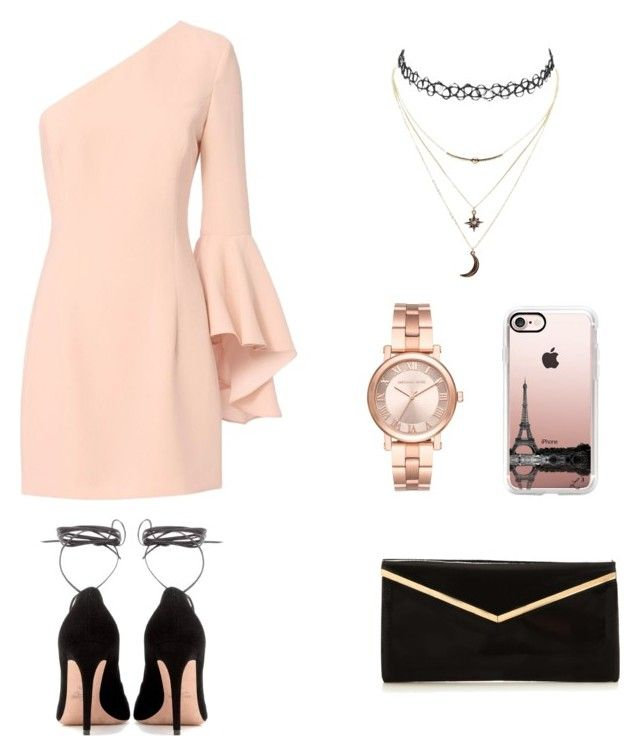 """""""One shoulder"""" by camryngarland ❤ liked on Polyvore featuring Exclusive for Intermix, Valentino, Michael Kors, Casetify and Charlotte Russe"""