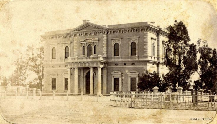 This is of the Institute Building back in 1875 located on the corner of North Terrace and Kintore Avenue. Today it is now joined as part of the State Library for a while it used to house an Exibit of things belonging to Sir Donald Bradman.