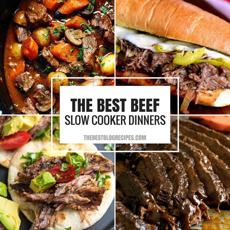 21+ Beef Slow Cooker Dinner Recipes that include Tacos, Sandwiches, Stew, and Brisket, these recipes are known for their deep flavors and easy directions.